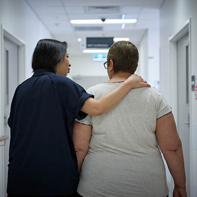 Cancer patient and nurse