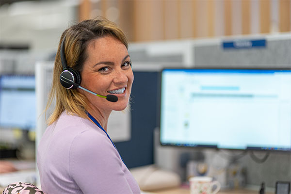 Cancer nurse on call with headset