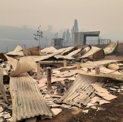 A Holiday Break property burnt out by the 2020 bushfires