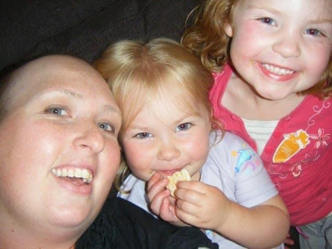 Kate during treatment, pictured with her two daughters Gemma and Bree.