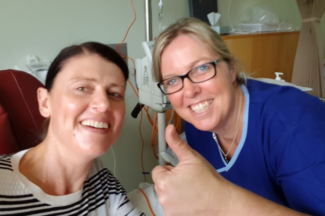 Claire with one of her amazing chemo nurses, Lisa, on the first day of chemotherapy – 10 April 2018.