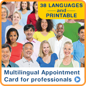 Multilingual appointment card for professionals: 38 languages and printable