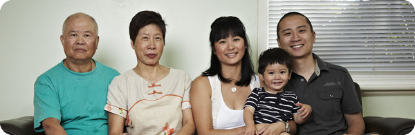 Three generations of a family from a non-English speaking background