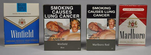 four cigarette packets then and now