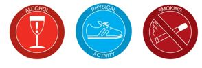 Achievement Program icons for alcohol, physical activity and smoking