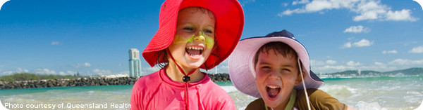 Kids at the beach (courtesy of Queensland Health)