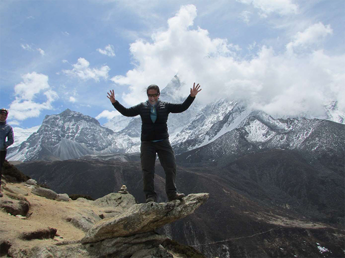Angela Ellis at Mt Everest base camp on the first anniversary of her cancer diagnosis.