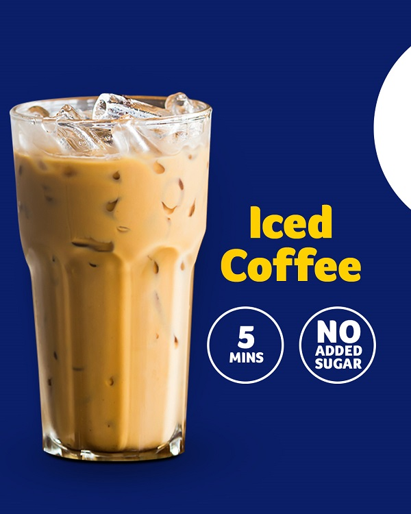 Iced coffee, 5 mins, no added sugar