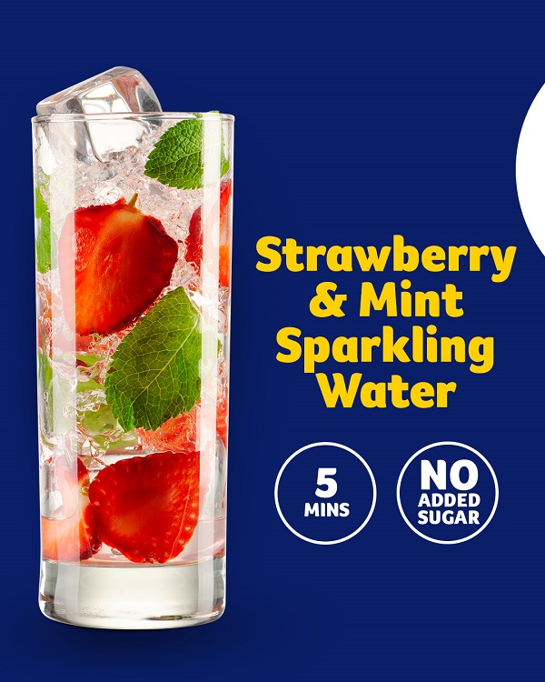 Strawberry and mint sparkling water, 5 mins, no added sugar